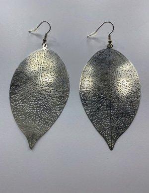 Silberne Ohrringe Blatt Form