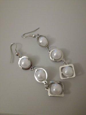 Pendientes de perlas color plata-blanco