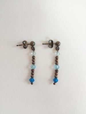 Srebrne kolczyki srebrny-niebieski