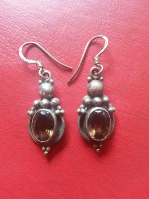 Silberne Ohrringe mit grünem Stein - Orientalischer Touch