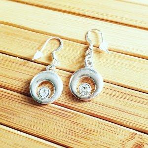 Statement oorbellen wit-zilver