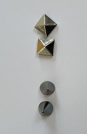 markenlos Oorstekers zilver-grijs