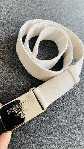 Prada Cinturón de tela blanco-color plata