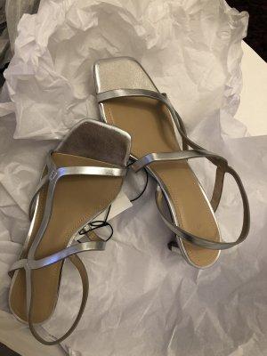 H&M Sandales à talons hauts et lanière argenté-gris clair tissu mixte
