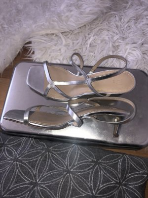 H&M Strapped High-Heeled Sandals silver-colored-nude