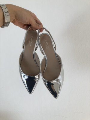 Carvela Slingback Ballerinas silver-colored leather