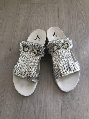 Isabel Licardi Sandalias de tacón con talón descubierto blanco-color plata