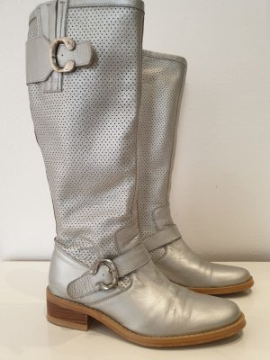 Jackboots silver-colored leather