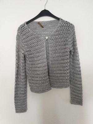 Cardigan a maglia grossa argento-grigio chiaro