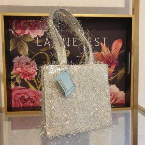 Silberne Tasche Silvester Party Clutch Handtasche Vintage 2000er Neu!