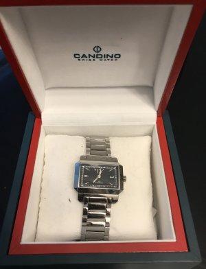 Silberne Uhr mit schwarzem Ziffernblatt von Candino Swiss Watch
