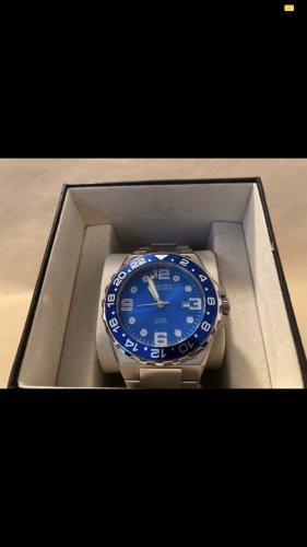 Zegarek z metalowym paskiem srebrny-niebieski