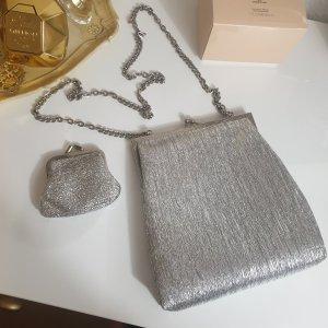 Silberne Vintage Tasche + Geldbörse Crossbody Umhängetasche Abendtasche