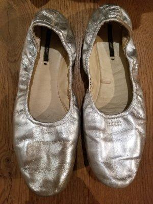 Silberne, weiche Ballerinas, Zara, Gr. 41