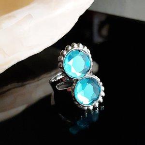 Statement ring zilver-lichtblauw