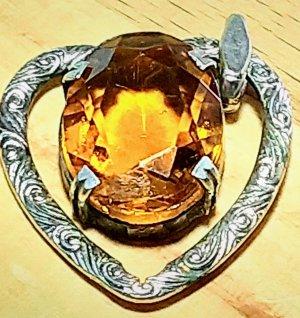 silberner Herz Ketten Anhänger mit orangenem Stein