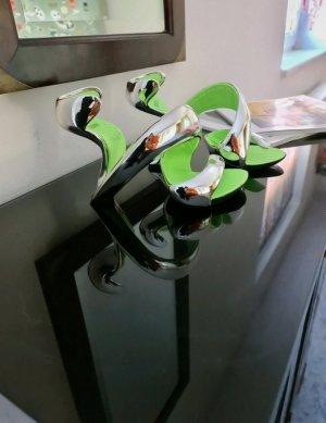 Tacones de hebilla color plata-verde