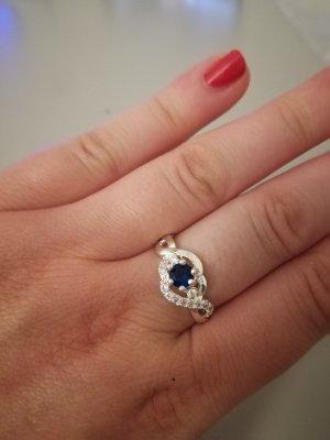 Zilveren ring zilver-blauw