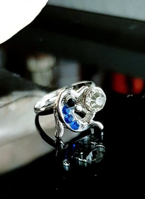 Anello d'argento argento-blu neon