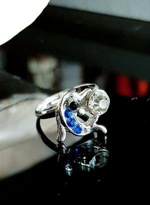 Srebrny pierścionek srebrny-niebieski neonowy
