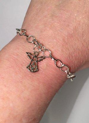 silbernes Armband mit Engel, 19 cm lang
