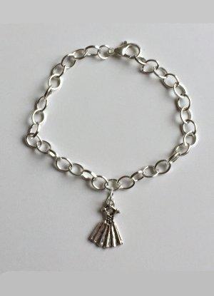 silbernes Armband mit Kleid, 19 cm lang