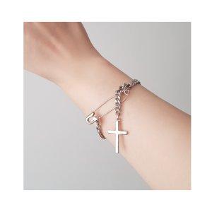 Silbernes Armband mit Kreuz und Sicherheitsnadel-Verschluss