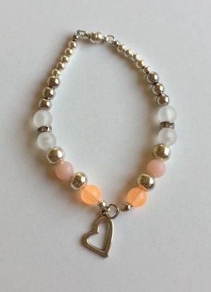 no name Bracelet orange-argenté tissu mixte