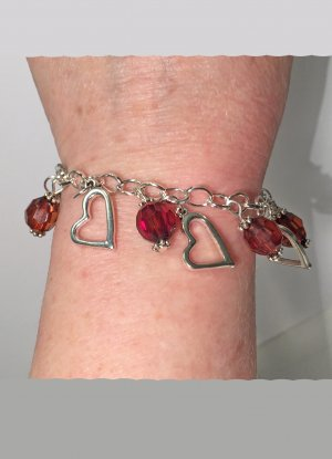 no name Charm Bracelet silver-colored-dark red metal