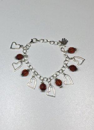 no name Bracelet à breloques argenté-rouge foncé métal