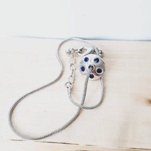 Bransoletka na stopę srebrny-ciemnoniebieski