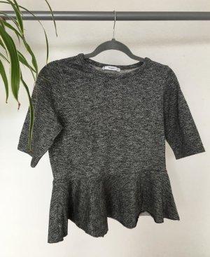 Silbernes, glitzerndes T-Shirt mit Rüschen