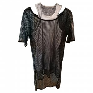Silbernes GUESS Top mit schwarzem Netzteil, Größe XS, ungetragen und neu