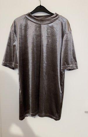 Silbernes Samt Shirt L (sitze wie S)