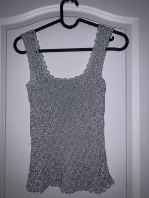 Crochet Top silver-colored-light grey