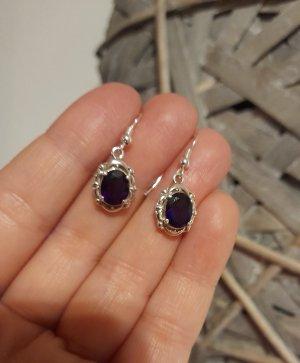 Boucles d'oreilles en argent argenté-violet foncé