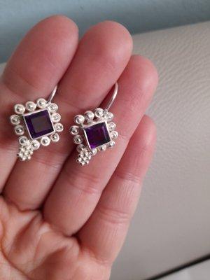 Silver Earrings silver-colored-dark violet