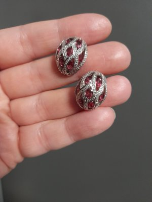 Kolczyk ze sztyftem srebrny-ceglasty