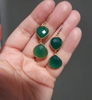 Boucle d'oreille incrustée de pierres brun sable-vert forêt