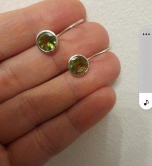 Orecchino d'argento argento-verde prato