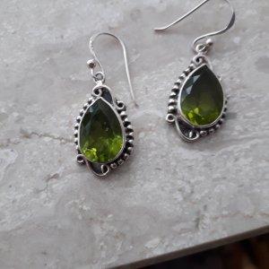 Srebrne kolczyki srebrny-zielony