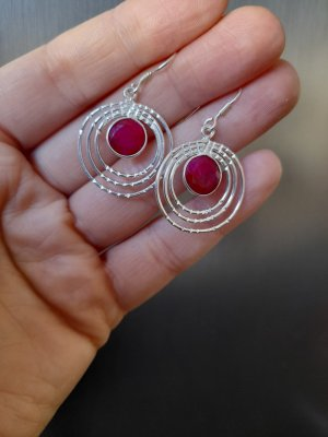 Silver Earrings neon red-silver-colored