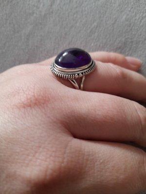 Silver Ring silver-colored-dark violet