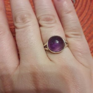 Silver Ring blue violet-silver-colored real silver