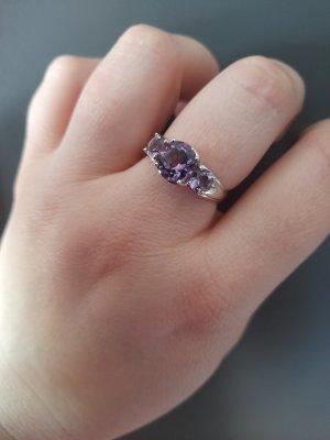 Srebrny pierścionek srebrny-niebiesko-fioletowy