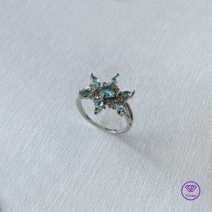 ♈️ Silberring mit blauem Schneeflockenkristall, Neu
