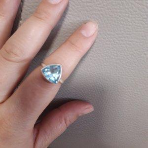 Silberring mit blauem Topas aus Indien,  Gr. 17