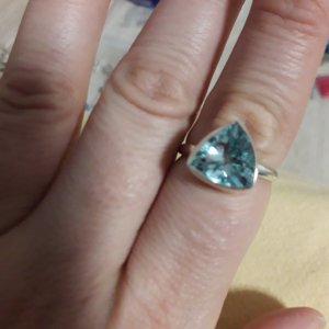 Silver Ring silver-colored-baby blue real silver
