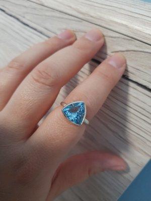 Silberring mit blauem Topas aus Indien, Gr. 57