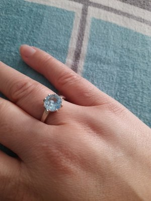 Silver Ring silver-colored-light blue